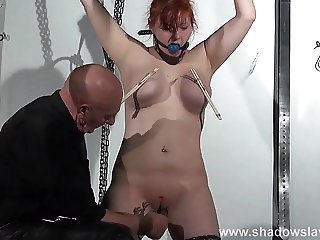 Swedish submissive Vicky Valkyrie tied up and pussy tortured