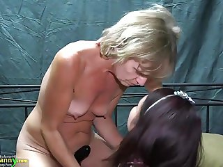 OldNanny Two lesbians girl is enjoying with toy
