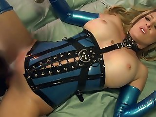 Fucking in shiny latex lingerie and high heels
