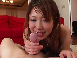 Asian whore gets her pussy creamed by two hunks
