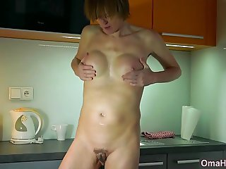 OmaHotel Fat and skinny girl masturbate each alone