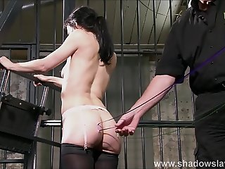 Needle decoration of slave Elise Graves start of edge play