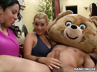 Women give blowjob and receive facial at Bachelorette Party