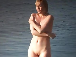 Nude Beach - Hot Redhead Teen Bathing