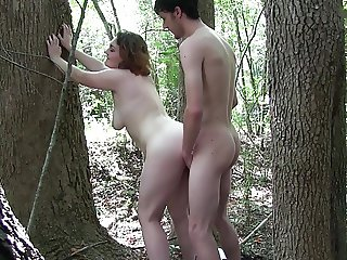 White Slut Amy Fucks In The Woods pt1