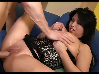 Asian with Big Tits squirts uncontrolable on Huge Cock