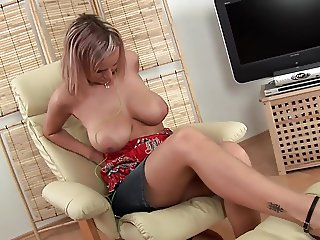 Big Tits EU Blonde Lady Moans While Dildoing Her Wet Pussy