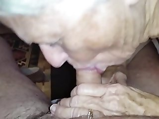 granny did not forget how to suck cock ...