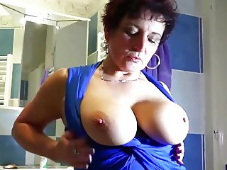 Granny is doing striptease