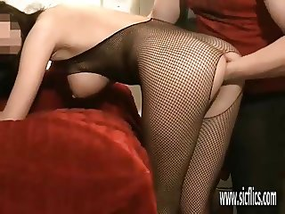 Brutally fisting his girlfriends ruined ass and pussy