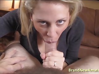 Hot blonde sucking cock pov and swallowing cum