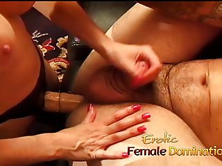 Submissive husband gets a blowjob before a nice hardcore