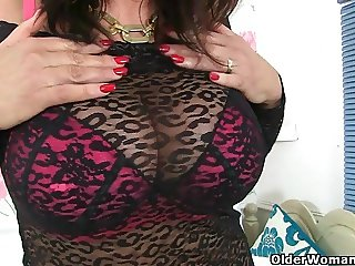 Busty British milfs in stockings love dildoing
