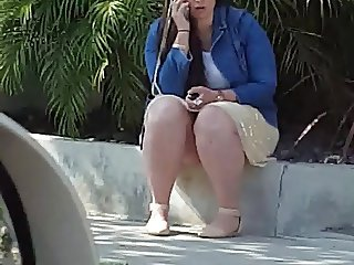 Candid street  break time bbw