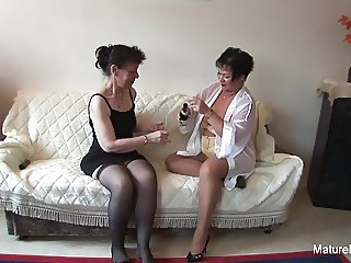 Sexy lesbian threesome action with hot grannies