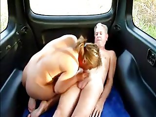 Old guy with prostittute in his car