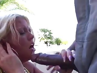 Blonde cougar sucking fucking big black cock