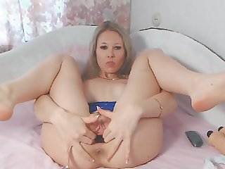 Horny Chick Dildos Ass and Pussy