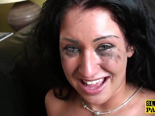 Bigtitted brit roughfucked before facial