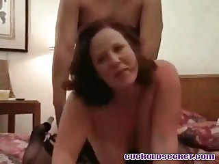 Cuckold secret of siisy watching his wife with 2 strangers