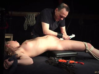 Teeny girl tied up on the bad and fucked