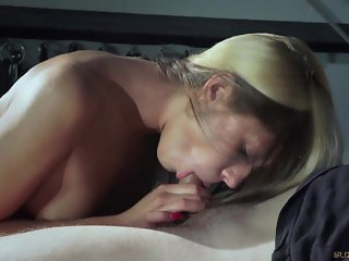 Hot blonde tied up and trained to be slave