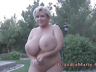Claudia Marie Chubby And Has Her Huge Fake Tits Destroyed