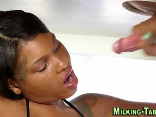 Sucking ebony masseuse