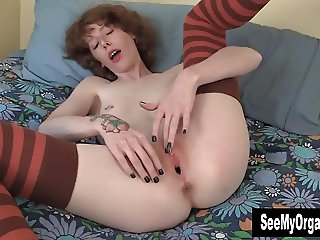 Stockinged Staci Masturbating