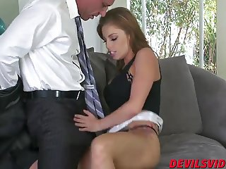 Brunette bombshell Britney riding a cock