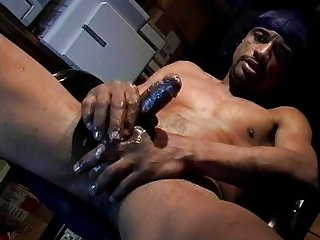 Thug tugging big black cock