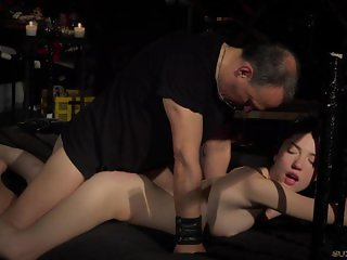 Caught in bondage pipes slave is roughly vibrator drilled