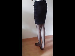 Showing my legs in stockings