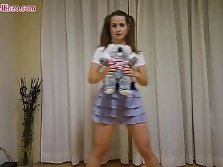 Pantyless Upskirt Workout with Teddy Bear