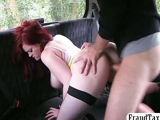 Big boobs amateur redhead hot sex in a taxi