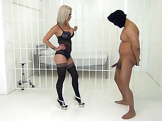Blonde Mistress in Lingerie BallBusting