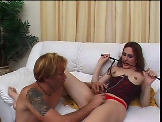 Blowing a foot obsessed tgirl