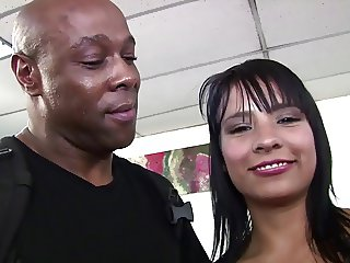 Hot Latina sucks black cock and eats cumload