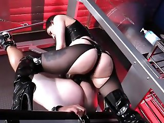 sexy mistress destroys  slaves ass