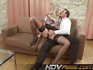 Blonde Babe Sindy Lucky in Stocking ride a Dick