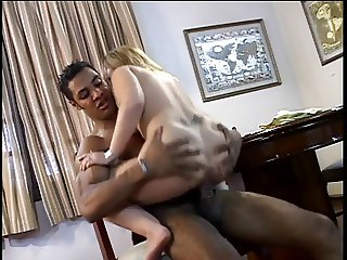 Hottie with big tits loves a black cock up her ass