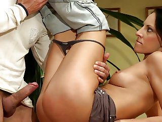 Brunette like to bang on a kitchen chair doggy style