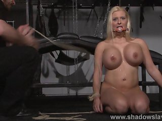 Busty german slave Melanie Moons tounge tied