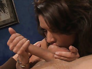 Brunette MILF moans while her pussy is hardcore pounded