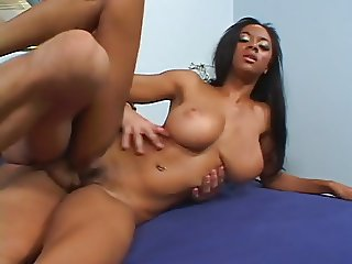 Busty ebony Tyra gets a white big dick