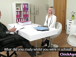 Casting babe pussy toyed by lesbian agent