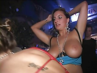 Girls flashing and licking tits at a party