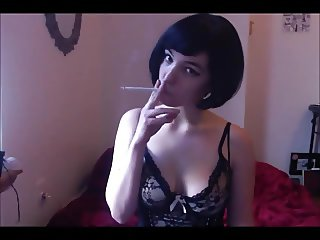 Adrienne Lane Smoking Fetish Black Lace, Fishnets VS 120