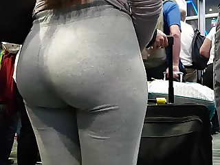Candid pawg slut in grey!!