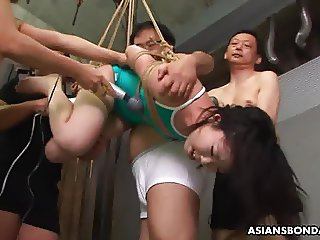 Total debauchery as she gets toyed by the boys
